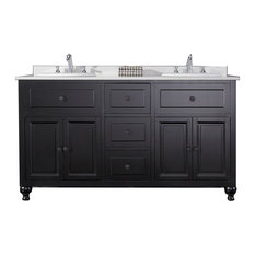 Genoa Double Vanity With White Marble Countertop and Ceramic Sinks