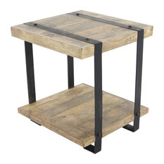 Industrial Mango Wood and Iron Side Table