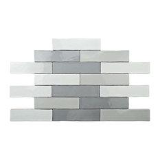 "SomerTile 3""x12"" Juneau Craquele Soho Ceramic Wall Tiles, Gray, Set of 16"