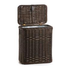 The Basket Lady   Wicker Kitchen Trash Basket With Metal Liner, Antique  Walnut Brown