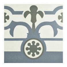 "9.75""x9.75"" Hidraulic Porcelain Floor/Wall Tiles, Set of 16, Boarder"