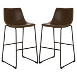 Glitzhome - Vintage Brown Leatherette Bar Stools, Set of 2 - Modern, bold and style are the statements of this bar stool. Rustic effect seating area makes this stool different, while iron frame adds stability and durability. Simple fashionable design and warm color scheme help this item to match your relaxing corner with ease and style. Floor protectors are attached to the bottom of the frame.