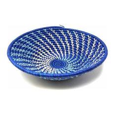 Woven Sisal Basket, Blue