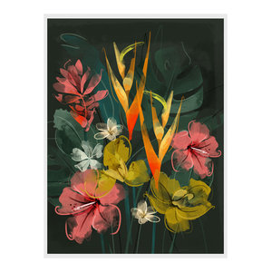 """Tropical Flowers"" Floral Art Print, Print Only, 50x70 cm"