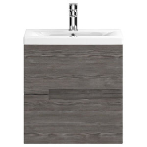 Urban Wall-Mounted Bathroom Vanity Unit, Grey-Brown, Deep Basin, 50 cm