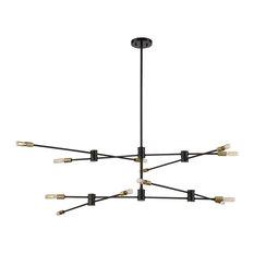 Savoy House Lyrique 12-Light Chandelier, Bronze/Brass Accents