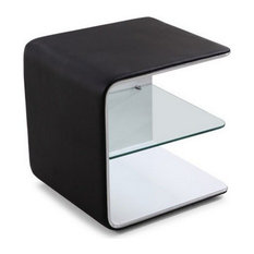 J&M Furniture - Wave Nightstand in Black and White - Nightstands and Bedside Tables