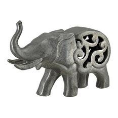 Metallic Pewter Finish Ceramic Elephant 12 Inches Long