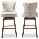 Wholesale Interiors - Gradisca Brown Wood Fabric Button-Tufted Upholstered Swivel Barstool, Set of 2 - Featuring modern and contemporary design, the Gradisca upholstered swivel barstool will be a perfect addition to your kitchen or bar counter. Constructed of solid rubber wood in dark walnut finishing, the barstool will be a nice addition for your warm and cozy kitchen and dining room. Button-tufting cut out backrest, couples with silver nail heads trim around the seat back adds a touch of modern and a little of glamour to this functional barstool. Fully upholstered in polyester fabric, the upholstered barstool is padded throughout for extra comfort. Sit and enjoy a glass of martini with your loved one after a long busy day for a little chit-chat, the Gradisca will instantly create a lovely ambience for the occasions. Made in Malaysia, the barstool requires assembly.