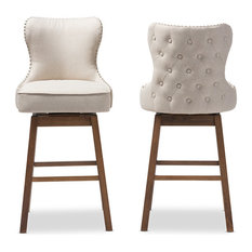 Gradisca Brown Wood and Tufted Swivel Barstool, Set of 2, Light Beige