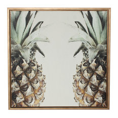 "Uniek - ""Pineapples"" Canvas Wall Art, Gold Frame, 24""x24"" - Paintings"