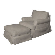 Slipcovered Chair and Ottoman in Light Gray
