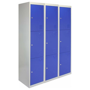 Modern Storage Cabinet, Blue-Grey Finish Metal With 9-Door and Inner Shelves