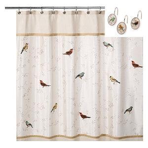 12 Deluxe Shower Hooks Granite Avanti Linens Braided Medallion Shower Curtain
