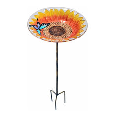 Peaktop Outdoor Garden Sunflower Glass Bird Feeder Free Standing Table