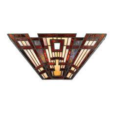 2 Light Pocket Wall Sconce - Tiffany Geometric Wall Light  Valiant Bronze