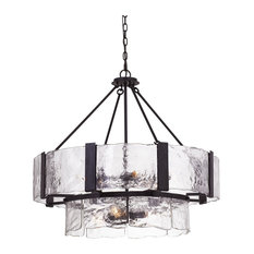 60W Siena Forged Iron Chandelier With Hand Crafted Glass