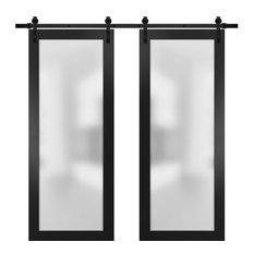 Glass Double Barn Doors 72 x 80 & 13FT Track Kit | Planum 2102 Black Matte