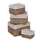 Paper Rope Storage Utilities Shelf Baskets Storage, 4-Piece Set, Beige