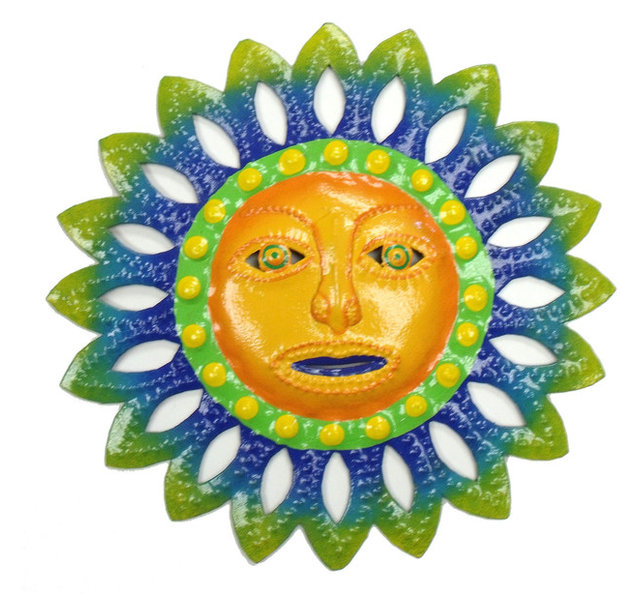 Handcrafted Tropical Sun Haitian Metal Art Wall Decor, Blue/Yellow ...