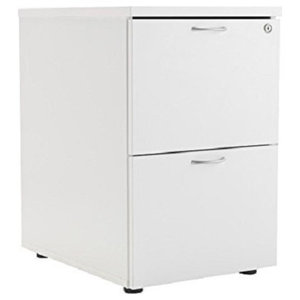 Modern Lockable 2-Drawer Storage Cabinet, White