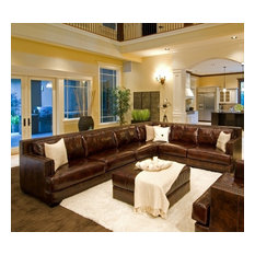 Elements Home Furnishing - Easton Top Grain Leather Sectional and Ottoman in Saddle Color (Left  sc 1 st  Houzz : deep sectional sofas - Sectionals, Sofas & Couches