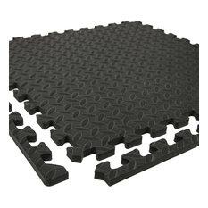 "24""x24"" Diamond Soft Interlocking Foam Tiles, Set of 6, Black"