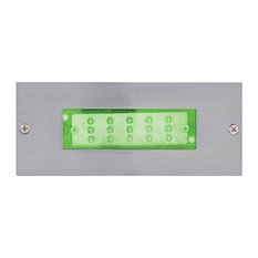 """6.63"""" 0.9W 15 LED Recessed Wall Step Light Silver Angled Panel Glass"""