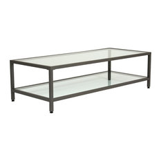Studio Design Camber Collection Rectangle Clear Glass Coffee Table Pewter