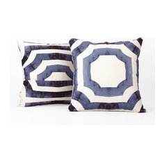 Mecca Printed Cotton Cushion Cover, Set of 2, Blue