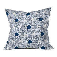 "Camilla Foss Circles, Blue II Throw Pillow, 16""x16"""
