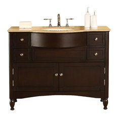 "45"" Elegant Single Sink Vanity With Travertine Top"