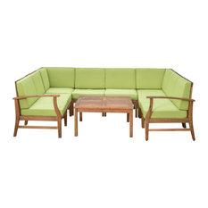 GDF Studio Scarlett Outdoor 6-Seat Teak Sofa and Table Set, Green