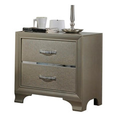 Wooden Two Drawer Nightstand With Bracket Legs Champagne