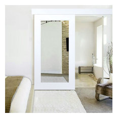 White Primed Mirror Sliding Barn Door with Hardware Kit, Hardware With Fascia, 4