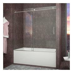 ANZZI Don Series 59 In. X 62 In. Frameless Sliding Tub Door In Brushed Nickel