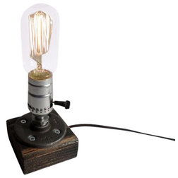 Lovely Industrial Table Lamps Rustic Industrial Edison Bulb Lamp Spanish Oak