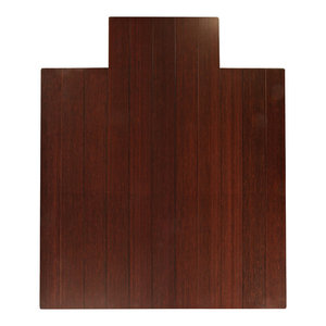 """Ronson Bamboo Deluxe Roll-Up Chair Mat, Dark Cherry, With Lip, 44""""x52"""""""