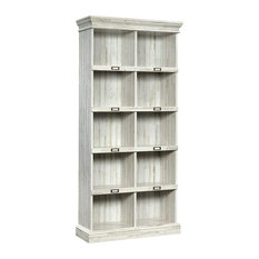 Rustic Bookcase 10 Open Compartments With Reversible Back White Plank