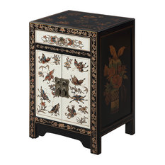 Convenience Concepts   Touch Of Asia 1 Drawer Cabinet End Table,  Black/White