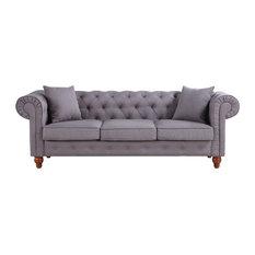 Divano Roma Furniture - Scroll-Arm Chesterfield Sofa, Linen - Sofas