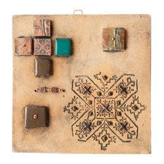 "Gabriela Handmade Clay And Copper Decorative Tile, 6"""