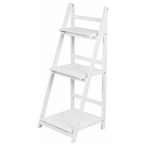 Folding Storage Organiser, White Finish MDF With 3 Open Shelves, Ladder Design