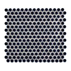"12""x12.63"" Penny Porcelain Mosaic Floor/Wall Tile, Midnight"