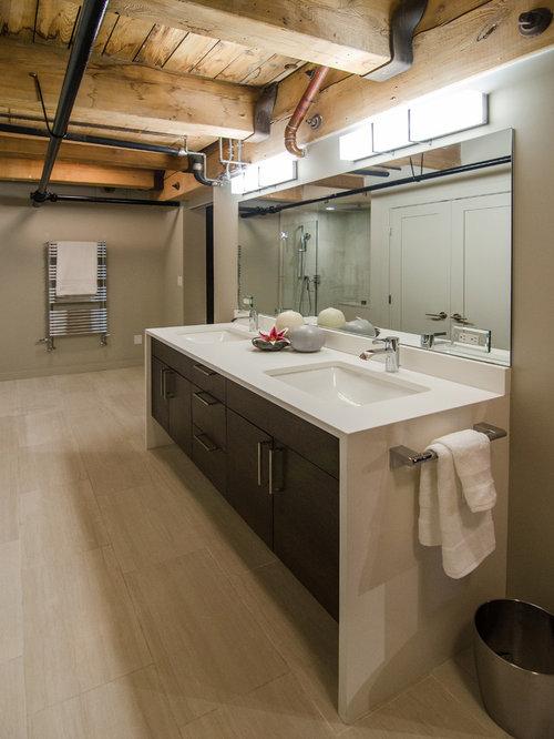 Industrial Bathroom Design Ideas Renovations Photos With Travertine Fl
