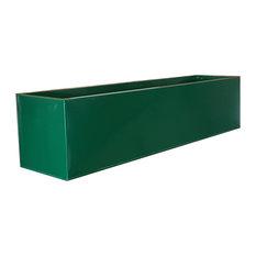 Green Powder Coat Galvanised Zinc Planter, 100x24x23 cm