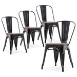 BELLEZE - Wood Seat Metal Dining Chairs, Set of 4, Antique Black - Completely change your living or restaurant space with this Bistro Metal Chair Set.