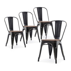 Wood Seat Metal Dining Chairs, Set of 4, Antique Black