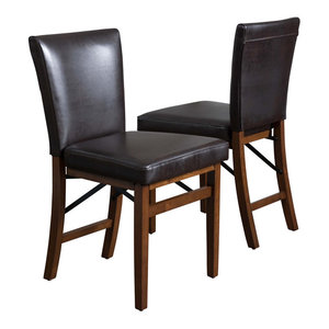 GDF Studio Rosalynn Brown Leather Folding Dining Chairs, Set of 2