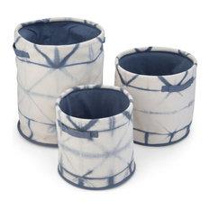 Zhen 3-Piece Nesting Storage Basket Set, Blue, Natural Cotton